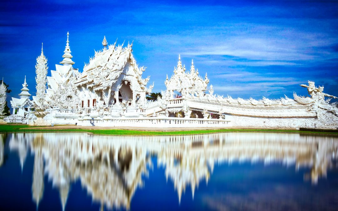 The White Temple of Chiang Rai in Thailand Spiritual Pop Art