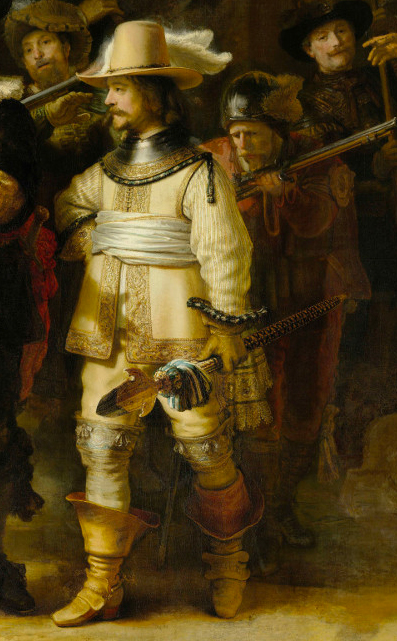 Detail of the lieutenant in yellow Willem van Ruytenburgh, that show the shadow of the captain's arm